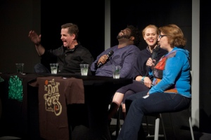 Jackie Kashian (right) of the podcast, the Dork Forest, sits with guest comedians Todd Glass, Ron Funches, and Janet Varney. (Photo Courtesy of Tommy Lau)