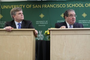 Supreme Court Justice Antonin Scalia and lexicographer Bryan A. Garner spoke to USF law students about ethics and the art of pursuading a judge. (Photo courtesy of Shawn Calhoun)
