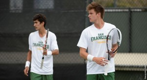 Bernardo Saraiva and Nils Skajaa won their doubles match 6-4. Saraiva also defeated his singles match opponent in straight sets of 6-3. (Photo courtesy of Dons Athletics)