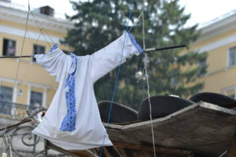 A traditional Ukrainian vyshyvanka (embroidered shirt) hung up on Independence Square. Courtesy of Daniela Schmiedlechner