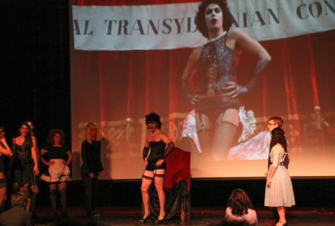"""Accompanying a screening of """"Rocky Horror Picture Show,"""" ASUSF College Players re-enacted key scenes from the 1975 cult film.  Danielle Maingot/FOGHORN"""