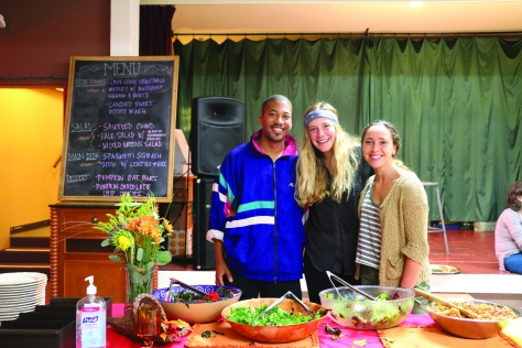 (Pictured left to right: Caleb Banks, Claire Rose, and Madeline Haupert) The USF Community Garden does more than just gardening. Students serve the greater community by cooking free dinners with the food they harvest and glean. DANIELLE MAINGOT/ FOGHORN
