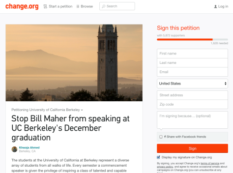 There are almost 6,000 signatures on a Change.org petition authored by a Berkeley student calling for the revocation of the invitation made to Bill Maher to speak at this semester's commencement.more than just gardening. Students serve the greater community by cooking free dinners with the food they harvest and glean. PHOTO COURTESY OF CHANGE.ORG