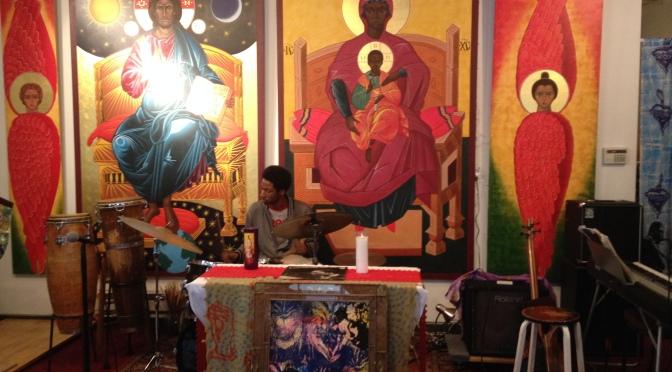 Parishioners at the Saint John Coltrane African Orthodox Church congregate each Sunday to worship God through the soulful rhythms of jazz. Eli MacDonald/foghorN