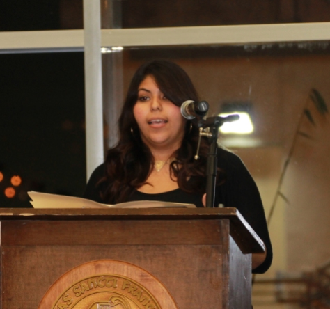 Latinas Unidas members Elizabeth Hernandez spoke about their personal journeys as Latina women in the United States.