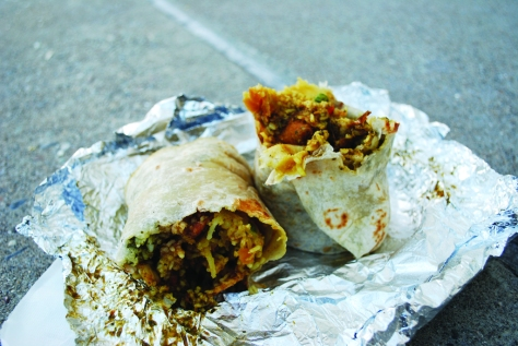 """The """"Hella Vegan"""" burrito bursting with classic Indian flavors from Curry Up Now."""