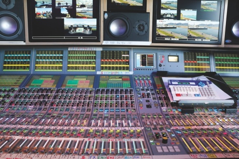 The audio board for ESPN's mobile control room. It is able to handle multiple layers and up to 200 different channels.