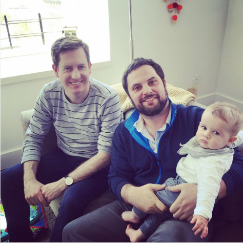 Rory Brown (left) posed with friend and former Foghorn editor Brian Stites (middle), and Brown's son Decker (right)
